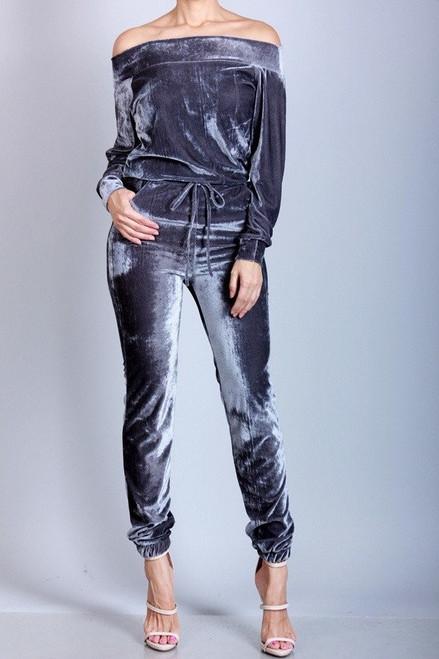 Velvet Cold Shoulder Jumpsuit