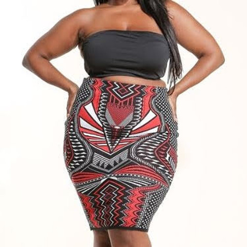 Plus Aztec Print knee length