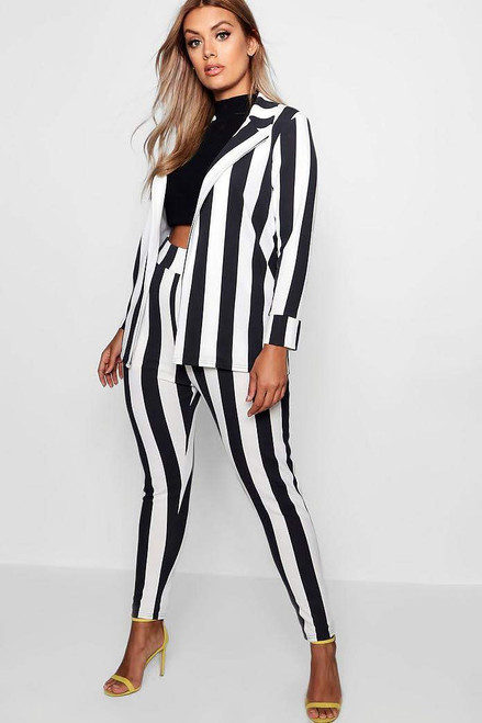 Plus Striped Blazer and Pant Suit set