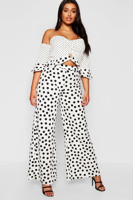 Plus Black Polka Dot Bardot Crop & Trouser