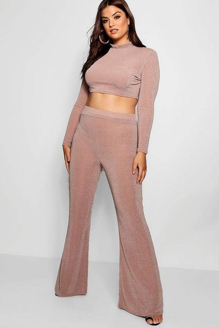 Plus Light Pink Shimmer Crop Top and Wide Leg Pants