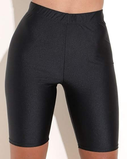 Black Nylon Spandex Biker Shorts