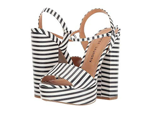 93243fe1e Black and White Stripe Open Toe Platform Heels - Coopers Hill Boutique