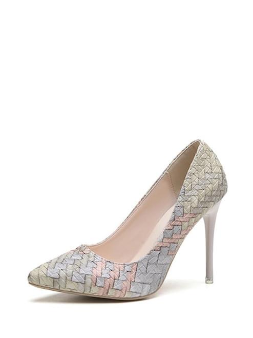 Pastel Woven Print Stiletto Heels