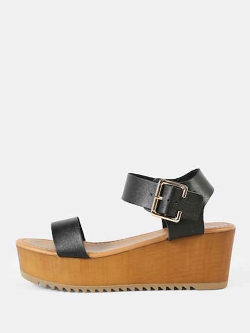 Thick Buckled Ankle Strap Wedge