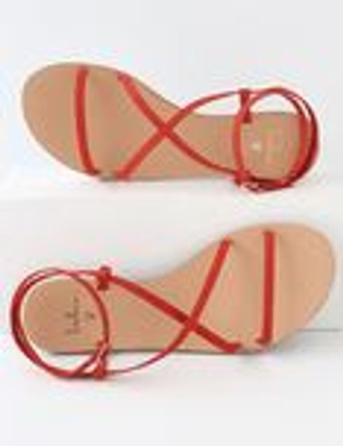 Red Suede Leather Flat Sandals