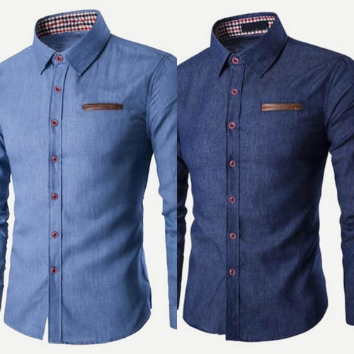 Light Blue Denim Colored Cotton Button Down Shirt