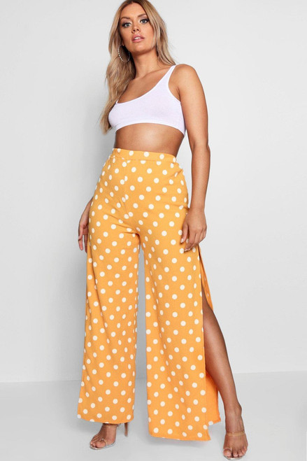 Plus Yellow Polka Dot Wide Leg Split Pants