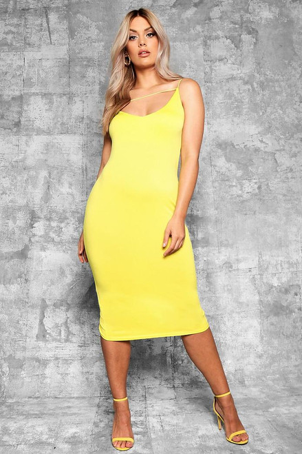 Plus Yellow Plunge Cami Midi Dress
