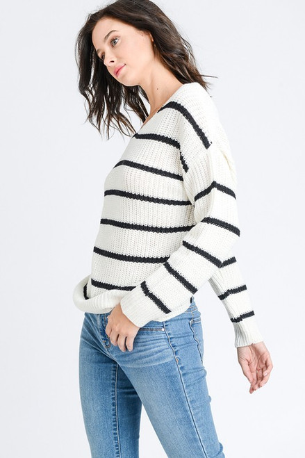 White & Black Striped V-Neck Twisted Back Sweater