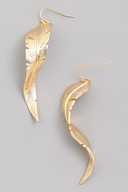 Gold Drop Leaf Earrings