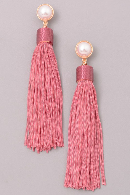 Mauve Tassel Drop Earrings