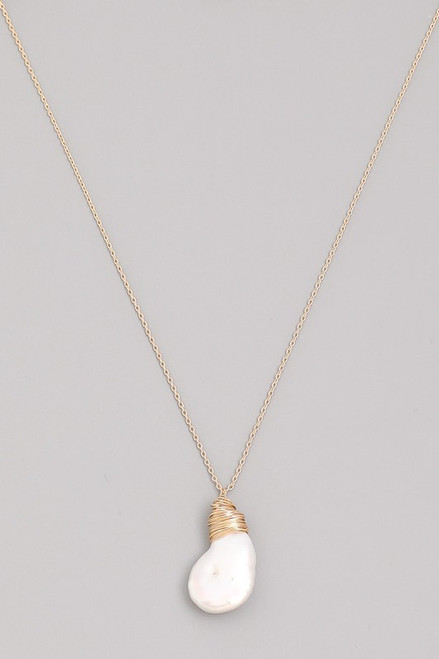 Gold Necklace with White Stone