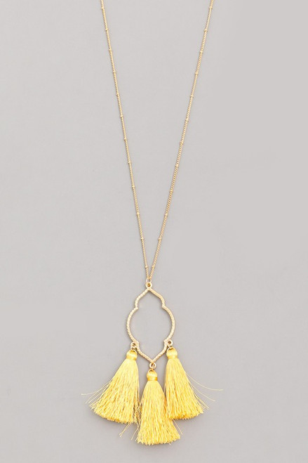 Gold Necklace with Yellow Tassel