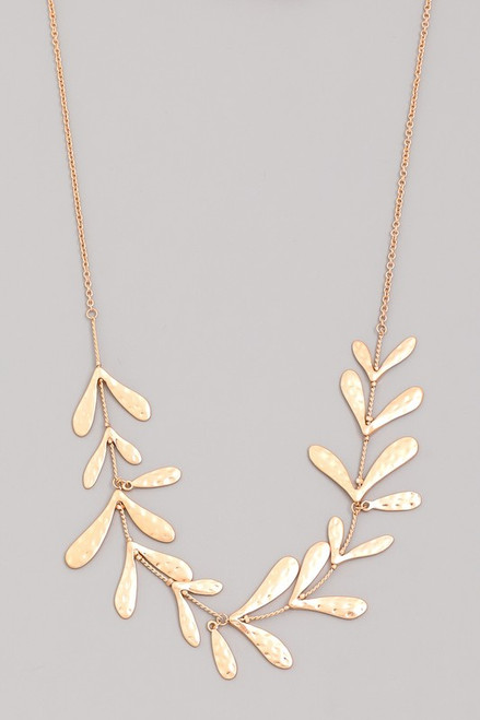 Gold Necklace with Leaves