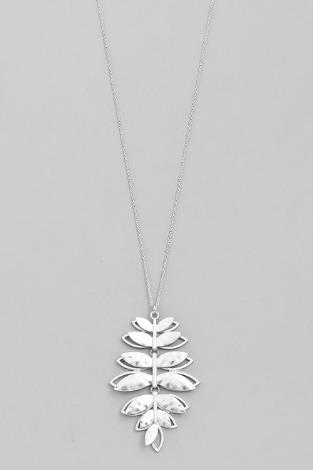 Silver Necklace with Leaves Pendant