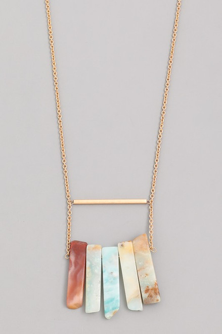 Gold Necklace with Earth Stones