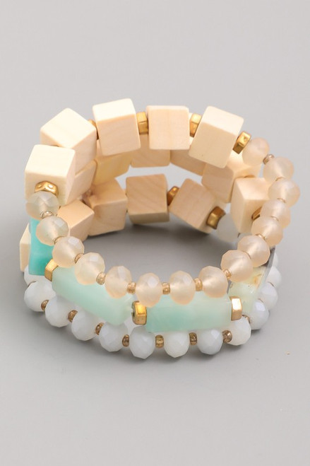 Mint Bead and Block Bracelets