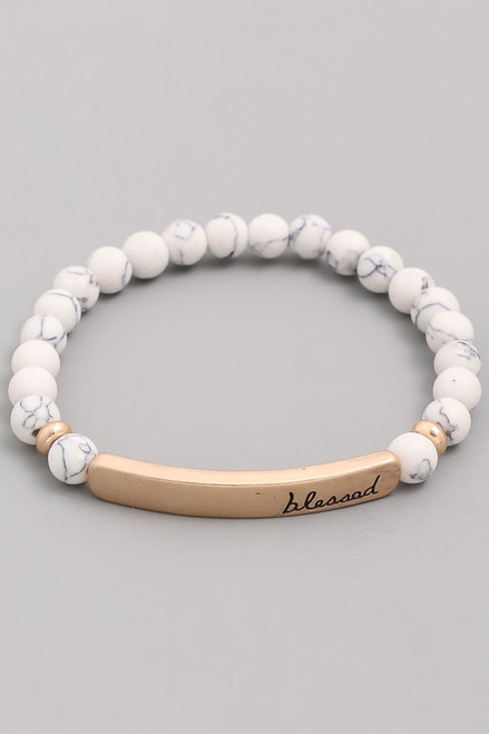 White Round Bead Blessed Bracelet