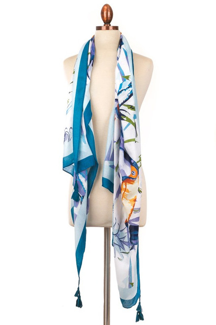 Blue Tropical Parrot Scarf