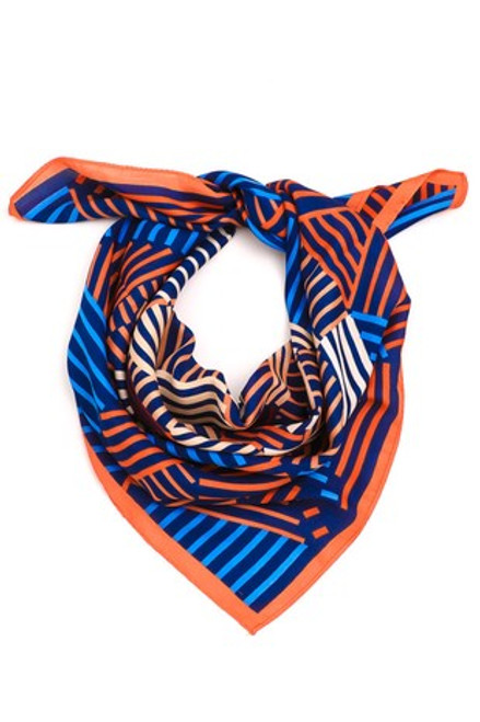 Orange & Blue Silky Scarf