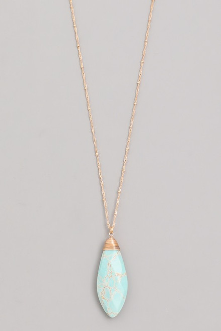 Gold Teardrop Turquoise Necklace