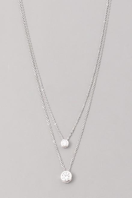 Silver 2 Layer Diamond Necklace