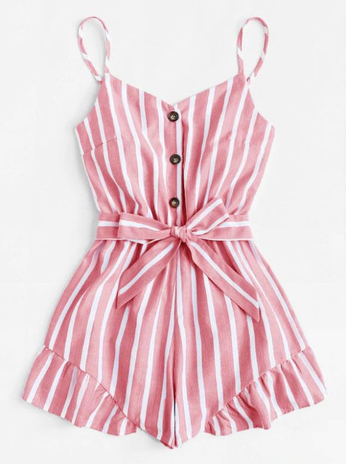 Pink and White Stripe Romper