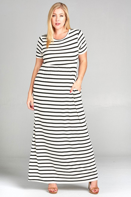 Plus Ivory and Navy Stripe Maxi Dress
