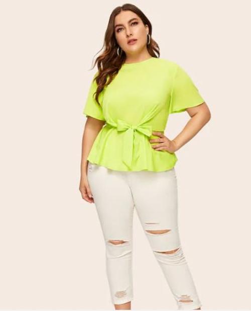 Plus Neon Green Peplum Shirt