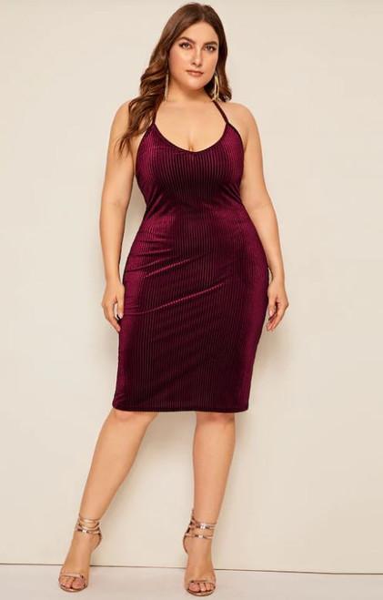 Plus Burgundy Velvet Lace Up Midi Dress