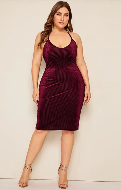 Plus Burgundy Velvet Lace Up Midi Dress