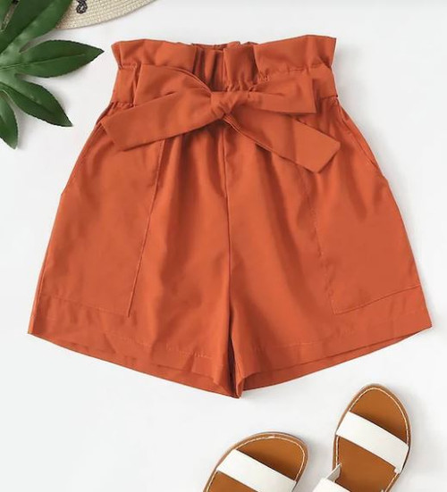 Plus Rust Paper Bag Tie Waist Shorts