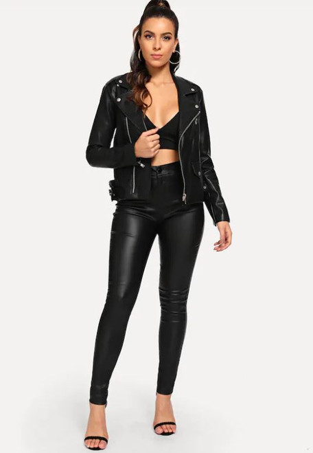 Black Faux Leather High Waist Skinny Pants