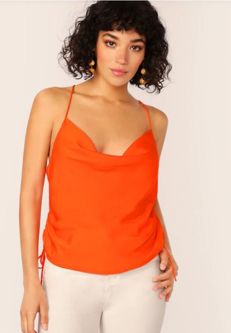 Orange Cowl Neck Criss Cross Back Cami