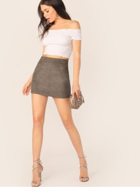 Taupe Suede Mini Skirt
