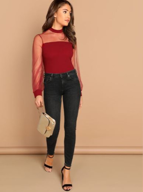 Burgundy Sheer Mesh Blouse
