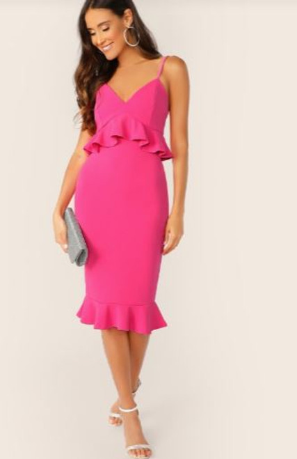 Pink Peplum Cocktail Dress