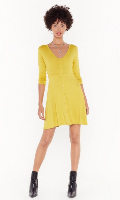 Corn Button Front Skater Mini Dress