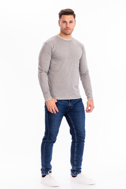 Grey and White Trimmed Long Sleeve