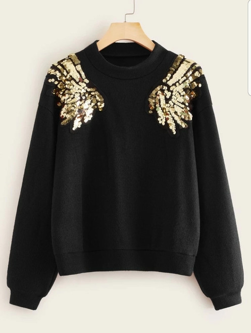 Black with Gold Sequined Wings Sweater