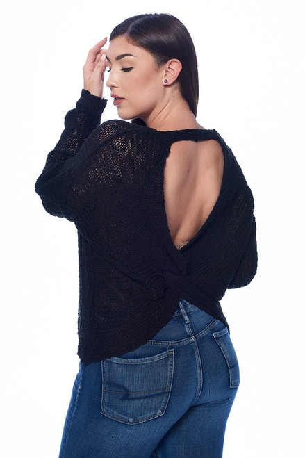 Plus Black Twisted Open Back Sweater