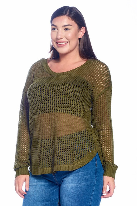 Plus Olive Fishnet Sweater