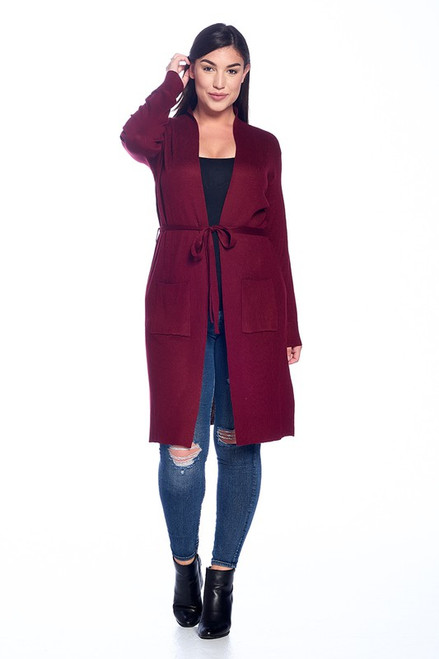 Plus Burgundy Oversize Cardigan
