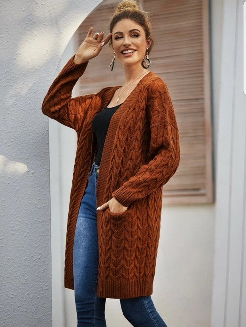 Rust Cable Knit Oversize Cardigan