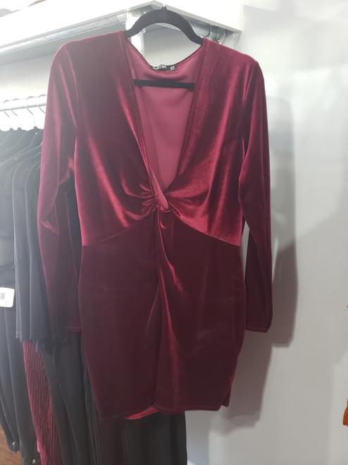 Plus Burgundy Twist Front Velvet Dress