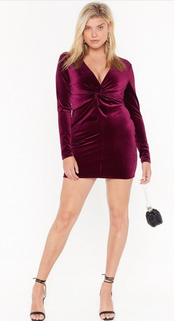 Plus Burgundy Twist Front Velvet Dress
