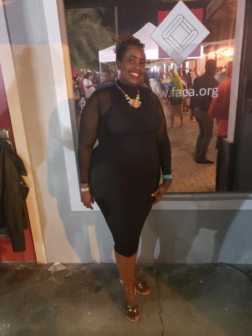 Plus Black Mock Neck Ribbed Midi Dress