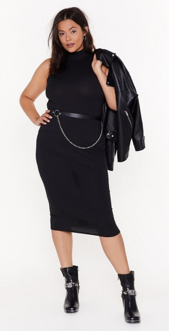 Plus Black Mock Neck Ribbed Midi Dress