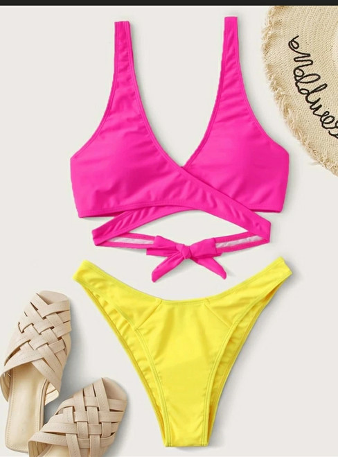 Two Tone Wrap High Cut Bikini